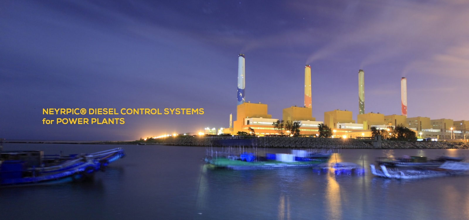 Night view of Taichung Thermal Power Plant.